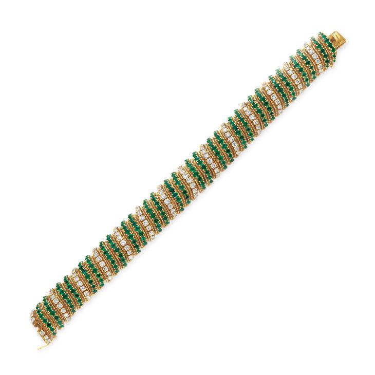 An Emerald, Diamond and Gold Bracelet, by Van Cleef & Arpels, circa 1960