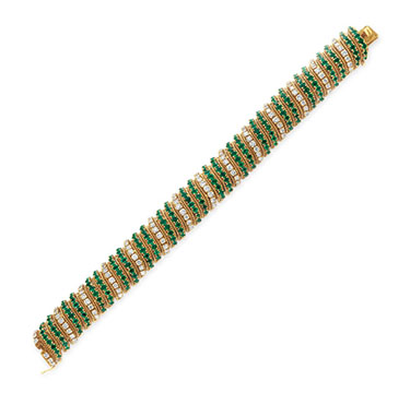 An Emerald, Diamond and Gold Bracelet, by Van Cleef & Arpels, circa 1960