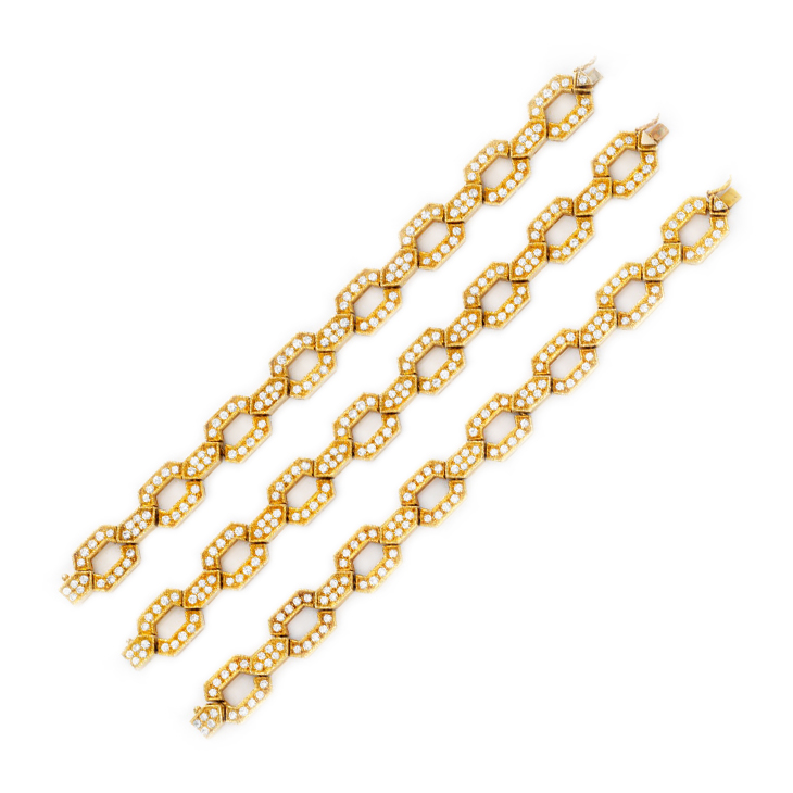 A Set of Gold and Diamond Bracelets, by Van Cleef & Arpels