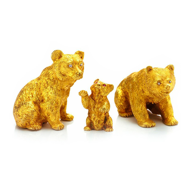 A Set of three 18k Gold and Diamond Bear Objects, by Wedderien