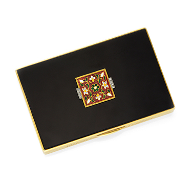An Enamel, Onyx and Gold Vanity Case, by Cartier, circa 1925