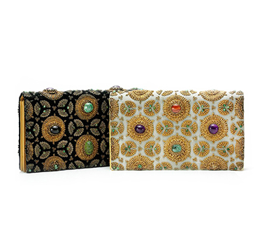 A Pair of Multi-gem and Gold Evening Bags, by Van Cleef & Arpels, circa 1960