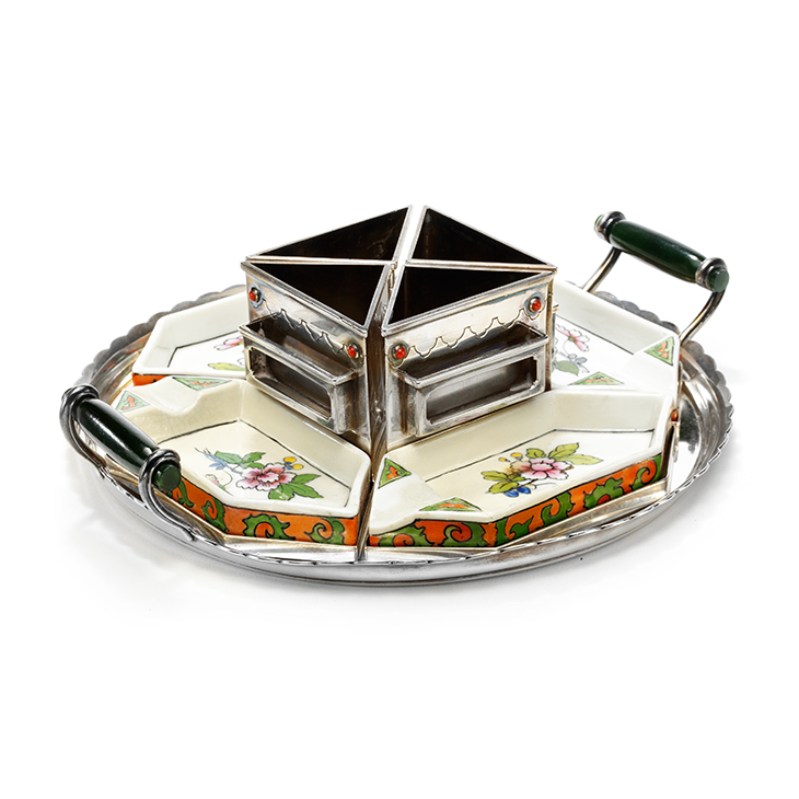 An Art Deco Silver and Porcelain Ashtray Set, by Cartier, circa 1930