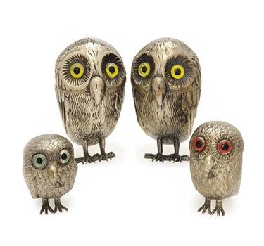 A Group Of Spanish Silver Condiment Cases Designed As Owls