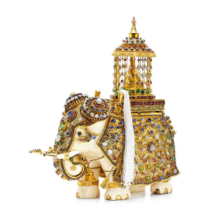 An Antique Multi-Gem and Ivory Elephant, circa 1900