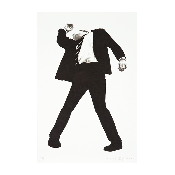 """Rick (from Men in the Cities), Robert Longo, 1994. HC 13 of 18; aside from the edition of 170, Lithograph on Arches Cover paper, Signed and dated lower right; edition lower left sheet 45.875"""" x 30""""; frame 52"""" x 36"""""""
