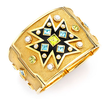 A Multi-gem And Gold Maltese Cross Cuff, By Verdura