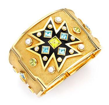A Multi-gem and Gold Maltese Cross Cuff, by Verdura