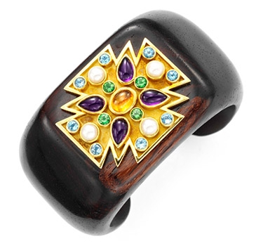 A Multi-gem, Gold And Wood Maltese Cross Cuff, By Verdura