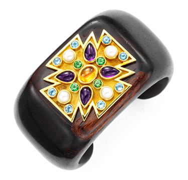 A Multi-gem, Gold and Wood Maltese Cross Cuff, by Verdura
