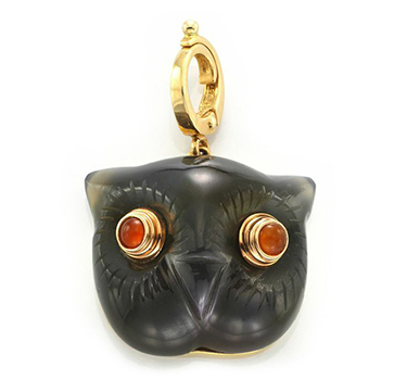 A Carved Agate, Coral And Gold Owl Charm, By Cartier, Circa 1960