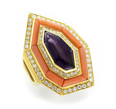 A Coral, Amethyst And Diamond Ring, By Bulgari, Circa 1970