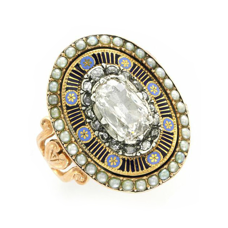 An Antique Diamond, Seed Pearl and Enamel Ring, circa 1880