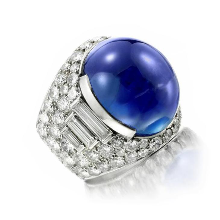 A Ceylon Cabochon Sapphire and Diamond 'Trombino' Ring, of approximately 30.00 carats, by Bulgari, circa 1965