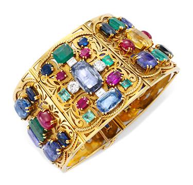 A Gold, Multi-gem and Diamond Bracelet, by Lucien Goubet, circa 1935