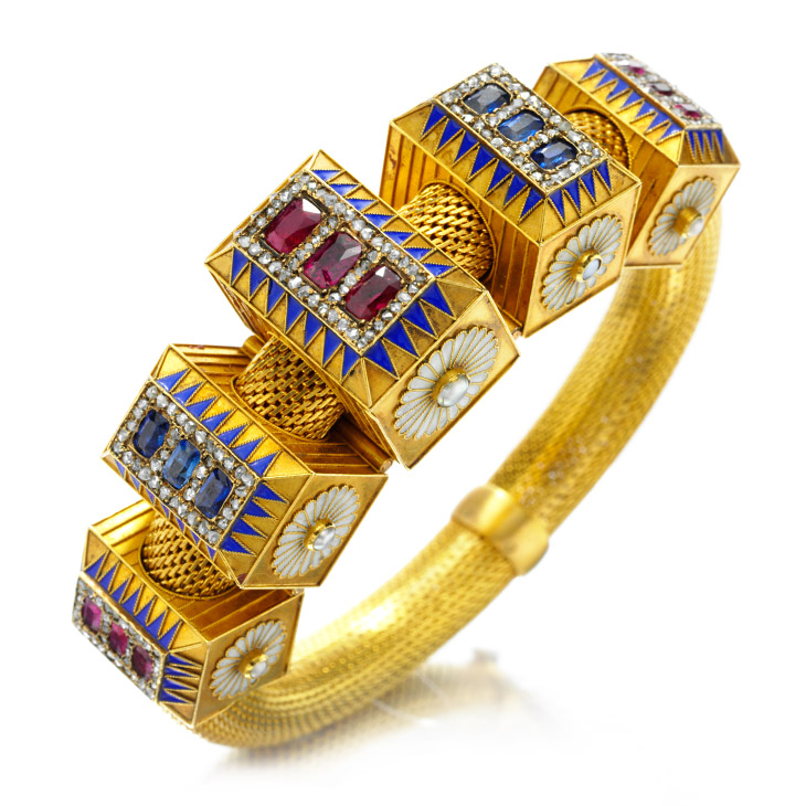 An Antique, Multi-Gem Enamel and Diamond Bracelet