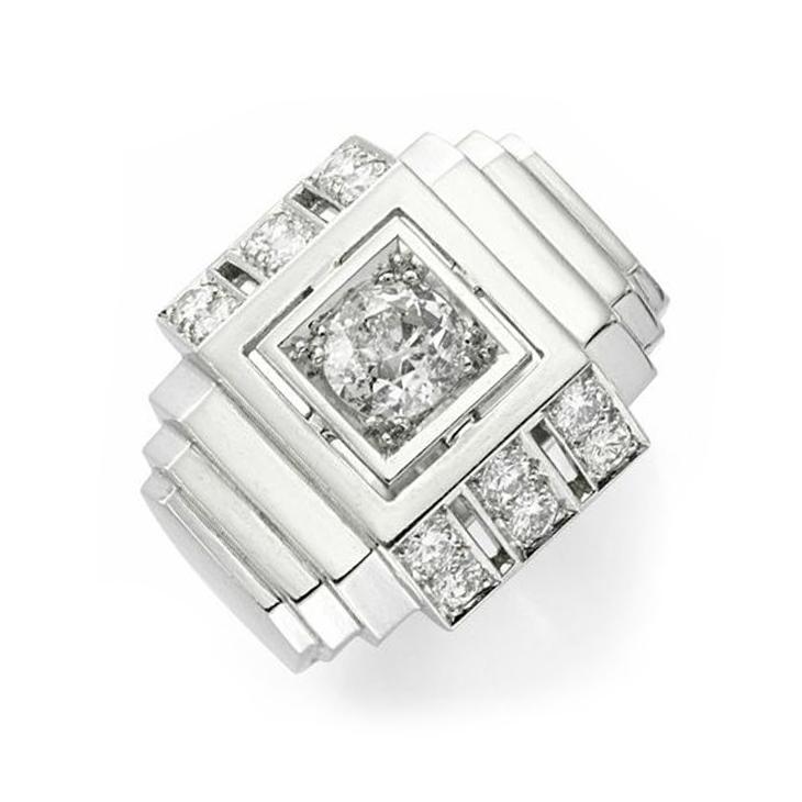 An Art Deco Diamond and Platinum Ring, by Boivin, circa 1930