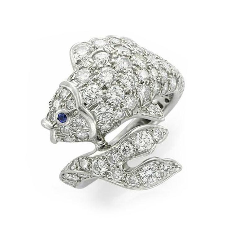 A Diamond, Sapphire and Platinum Fish Ring, by Tiffany & Co., circa 1990