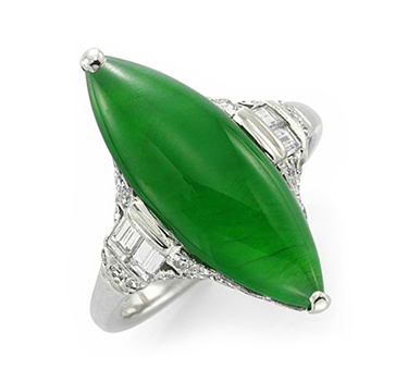 An Art Deco Natural Jade And Diamond Navette Ring, Circa 1920