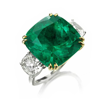 A Colombian Cushion-cut Emerald And Diamond Ring, Of Approximately 14.32 Carats