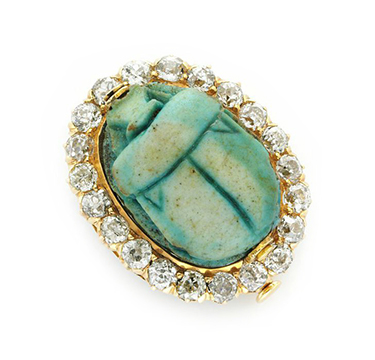 An Ancient Egyptian Scarab and Diamond Ring