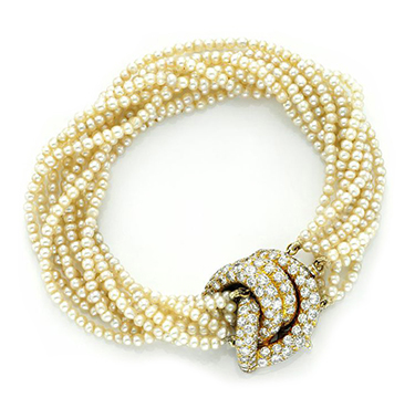 A Natural Seed Pearl, Gold and Diamond Bracelet, by Van Cleef & Aprels, circa 1945