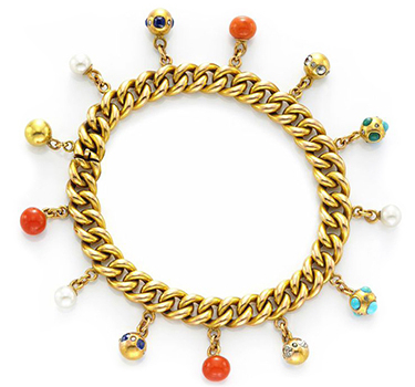 An Antique Multi-gem, Diamond And Gold Charm Bracelet, Circa 1900