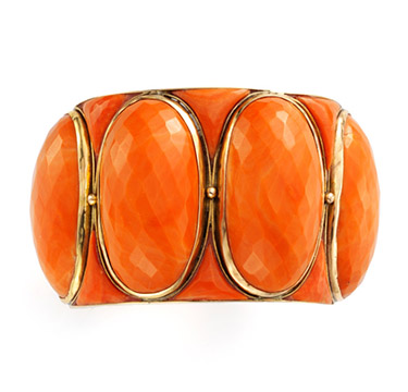 A Faceted Coral and Gold Bracelet, circa 1960