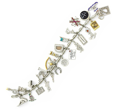 An Art Deco Multi-gem And Diamond Charm Bracelet, Circa 1920