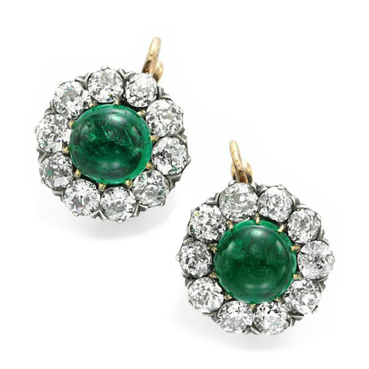 A Pair of Antique Emerald and Diamond Ear Pendants, Russian marks, circa 1900