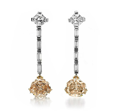 A Pair of Fancy Brown Orange Diamond Ear Pendants, of 2.70 and 2.53 carats