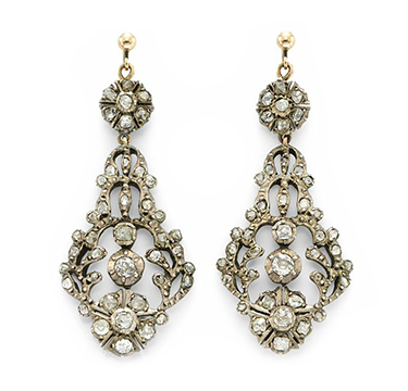 A Pair of Diamond, Silver and Gold Ear Pendants, circa 1850