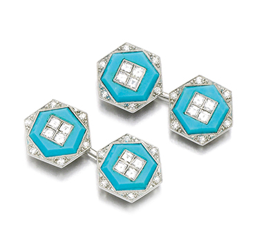 A Pair of Turquoise and Diamond Cufflinks, by Cartier