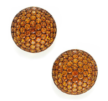 A Pair Of Mandarin Garnet And Gold Ear Clips, By Hemmerle