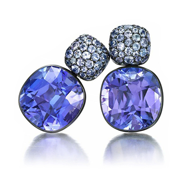 A Pair Of Tanzanite And White Gold Ear Pendants, By Hemmerle