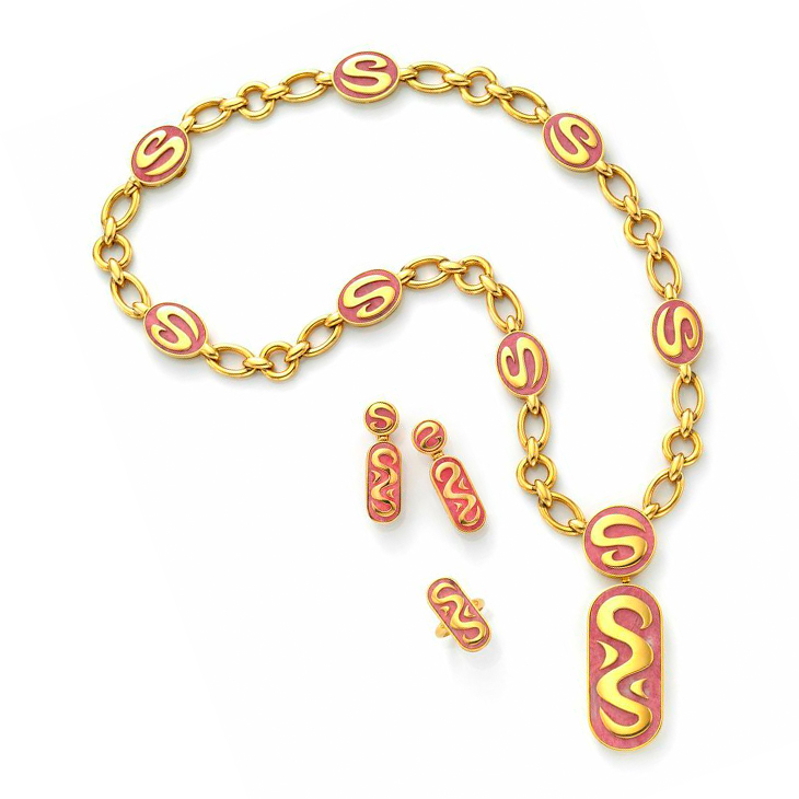 A Suite of Rhodochrosite and Gold Jewelry, by Bulgari