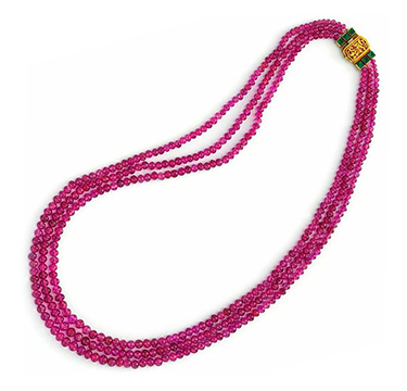 A Three-strand Burmese Ruby Necklace