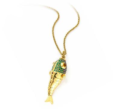 A Sapphire, Emerald and Diamond Fish Pendant, by Boivin, circa 1960