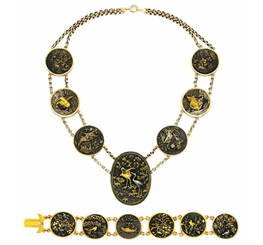 A Suite Of Shokudo And Gold Jewelry, Comprising Necklace And Bracelet, 19th Century