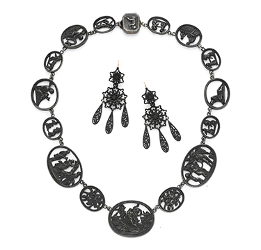 A Suite of Berlin Iron Works Jewelry, comprising Necklace and Ear Pendants, 19th Century