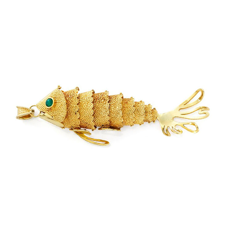 A Gold and Emerald Fish Pendant, by Tiffany & Co., circa 1970