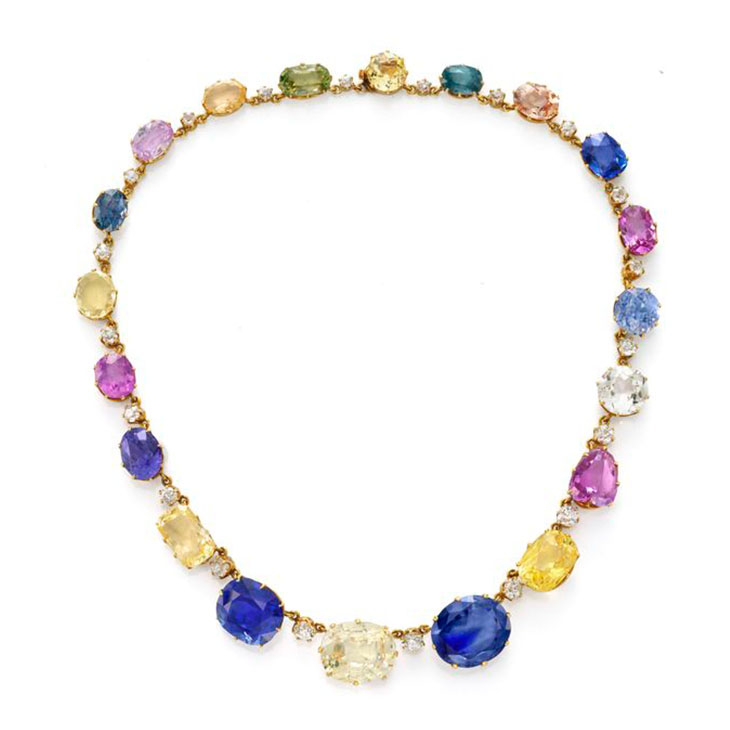 An Antique Multi-colored Sapphire and Diamond Necklace, 19th Century