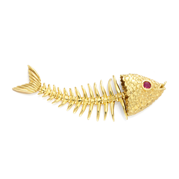 A Ruby and Gold Fish Pendant, by Tiffany & Co., circa 1970