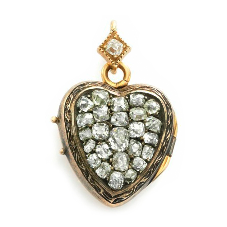 An Antique Diamond and Gold Heart Pendant, 19th Century