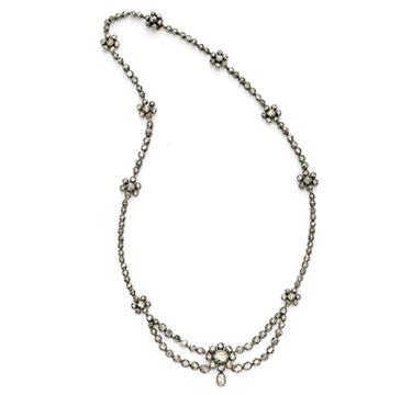 An Antique Rose-cut Diamond Necklace, Georgian