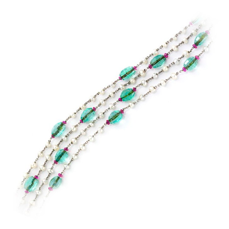 An Edwardian Emerald, Ruby and Natural Pearl Long Chain, circa 1910