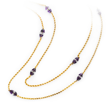 A Pair Of Antique Amethyst And Diamond Long Chain Necklaces
