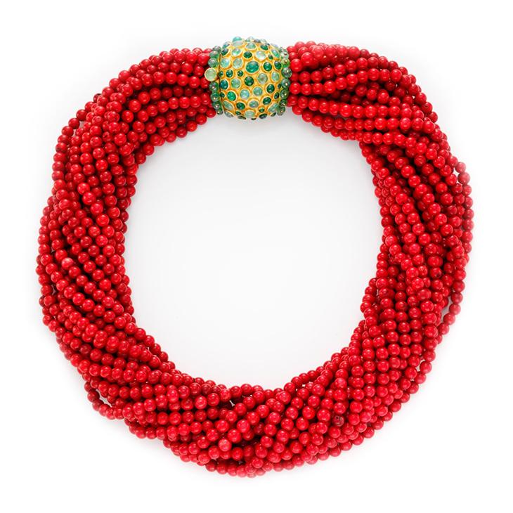 A Coral and Emerald Torsade Necklace, by Boivin, circa 1950