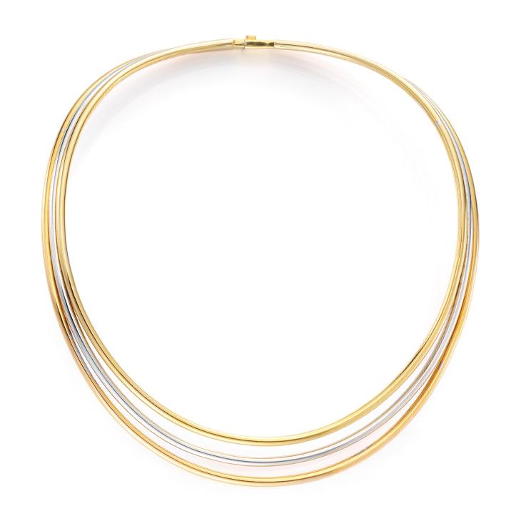 A Tri-colored Gold Collar Necklace
