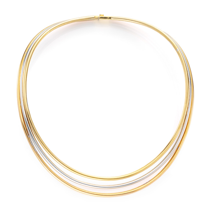 A Tri-colored Gold Collar Necklace